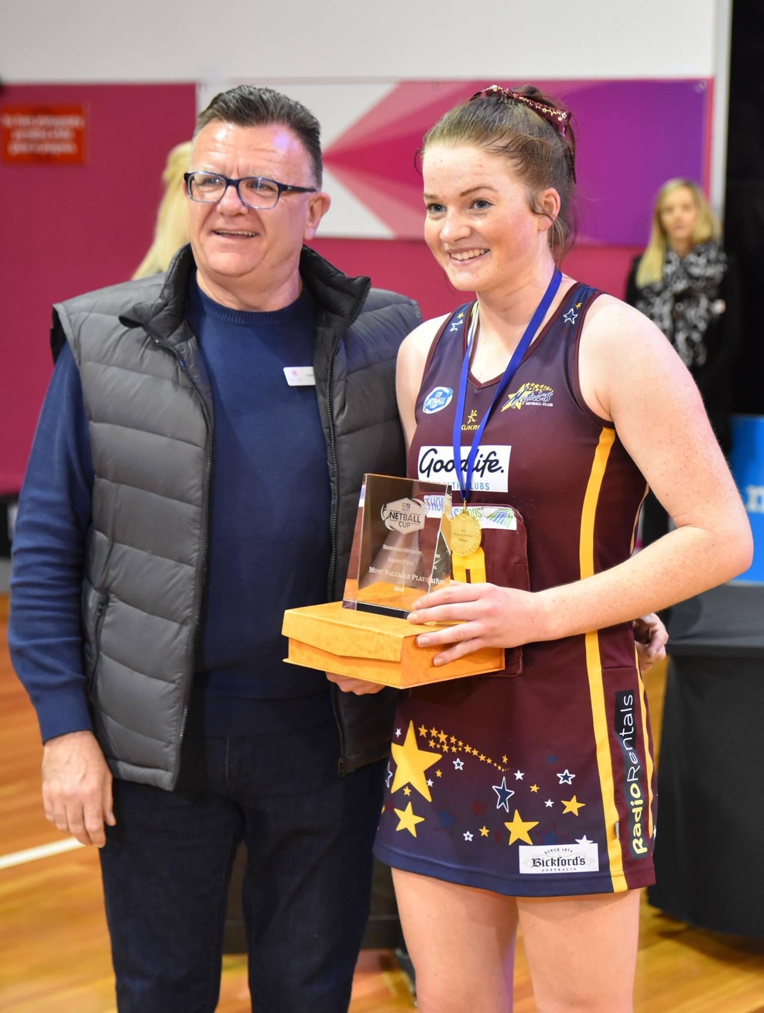 Graeme Gilbert (President Netball SA), Maisie Nankivell (MVP)